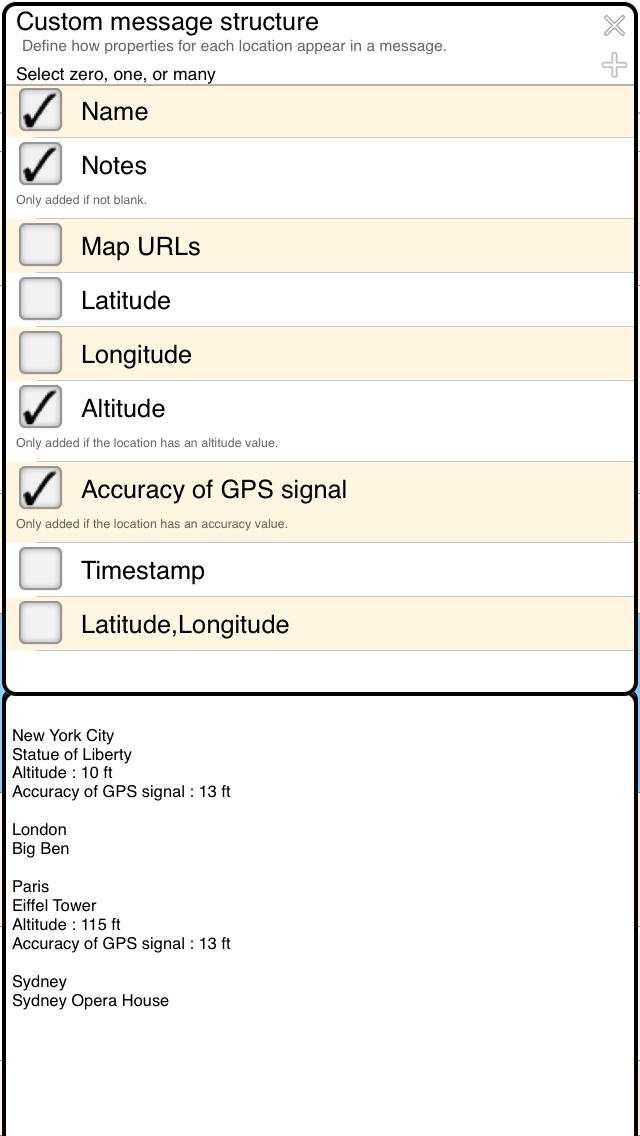 My GPS Coordinates For IOS Custom Message Structure Help Page - Latitude longitude altitude